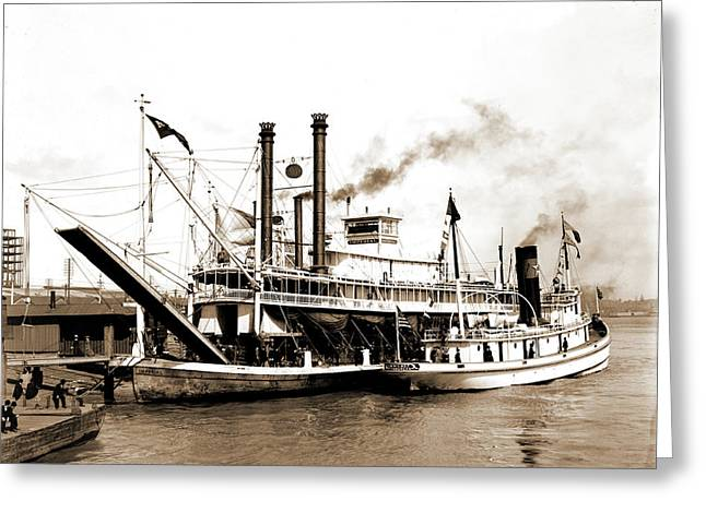 Imperial, New Orleans, The, Imperial Steamboat, Piers & Greeting Card