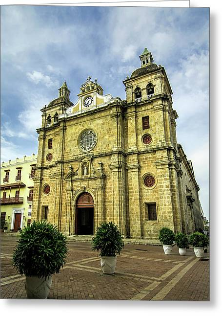 Imposing Church Of San Pedro Claver Greeting Card by Jerry Ginsberg