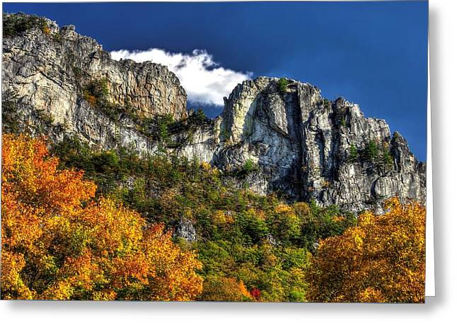 Imposing Seneca Rocks - Seneca Rocks National Recreation Area Wv Autumn Mid-afternoon Greeting Card by Michael Mazaika