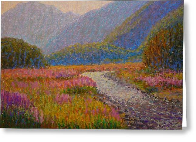 Impression Lupins Cascade Creek Greeting Card by Terry Perham