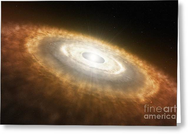 Impression Of A Baby Star Still Surrounded By A Protoplanetary Disc Greeting Card by Paul Fearn