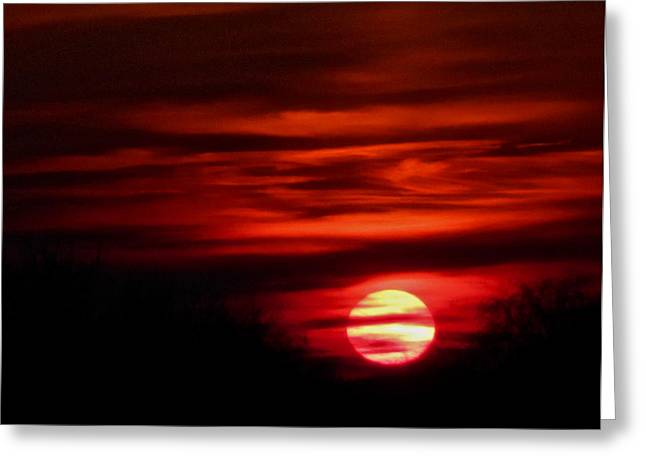 Impression Sunset Greeting Card by Richard Cummings