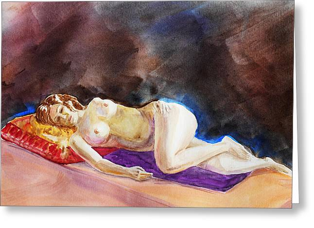 Impressionism Of Reclining Nude Greeting Card by Irina Sztukowski