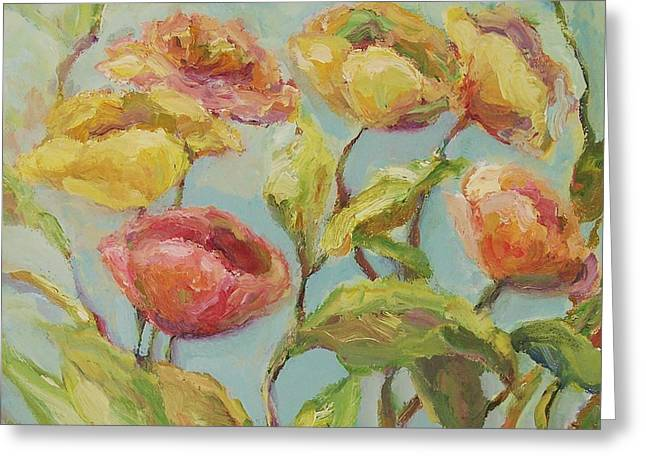 Greeting Card featuring the painting Impressionist Floral Painting by Mary Wolf