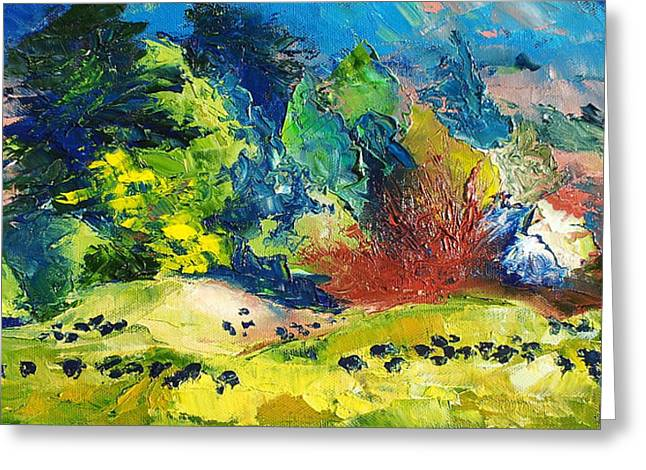 Impressionist Landscape With Cows Fine Art Oil Painting Greeting Card