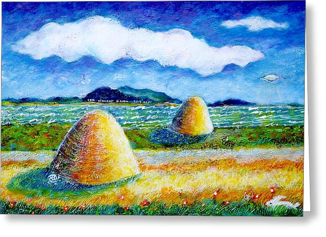 Impressionist Landscape With Ufo Greeting Card