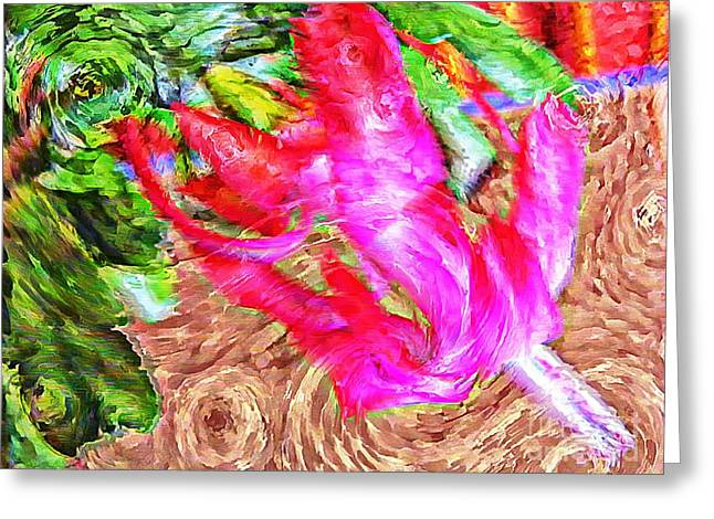 Impressionistic  Easter Cactus Blossom  Greeting Card by Barbara Griffin