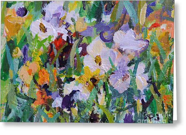 Praise Ye The Lord - Psalm 148 1a - Impressionistic Floral Painting  Greeting Card by Philip Jones