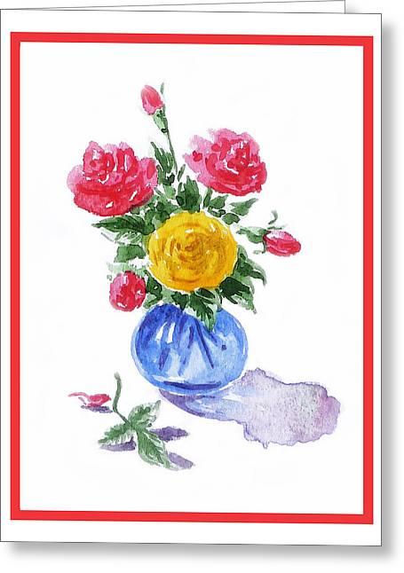 Impressionistic Roses Greeting Card by Irina Sztukowski