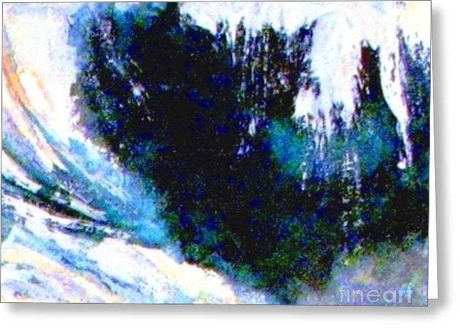 Impressionistic Waterfall Greeting Card by Hazel Holland
