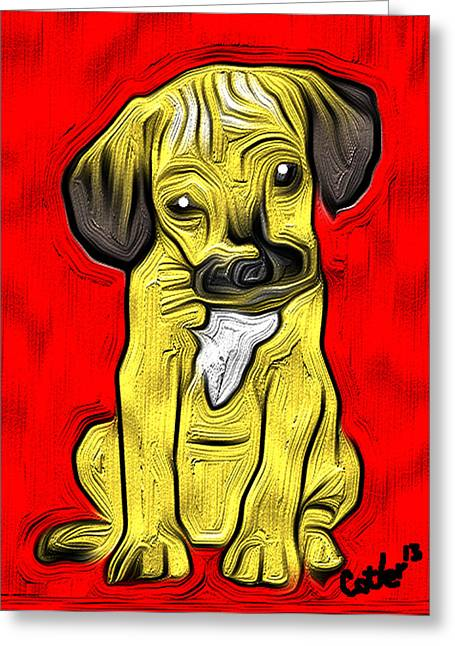 Impressions Of A Puggle Greeting Card by GR Cotler