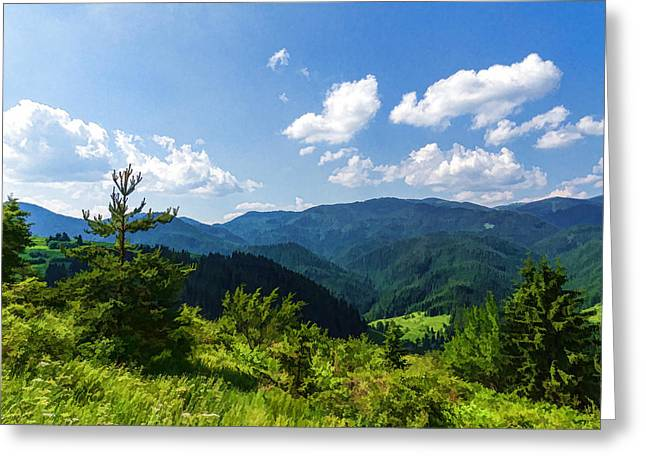 Impressions Of Mountains And Forests And Trees Greeting Card by Georgia Mizuleva