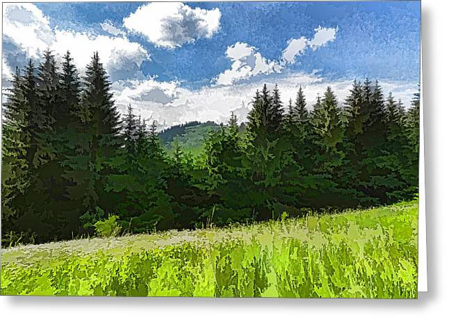 Impressions Of Mountains And Meadows And Trees Greeting Card by Georgia Mizuleva