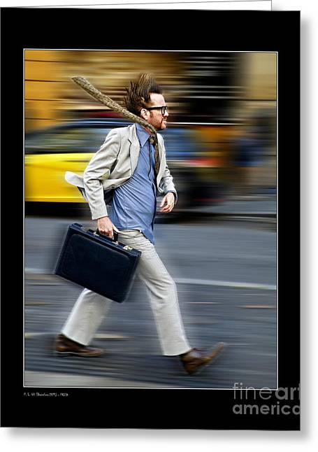 In A Hurry Greeting Card by Pedro L Gili