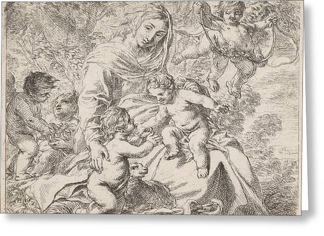 In A Landscape Is Mary With The Christ Child On Her Lap Greeting Card