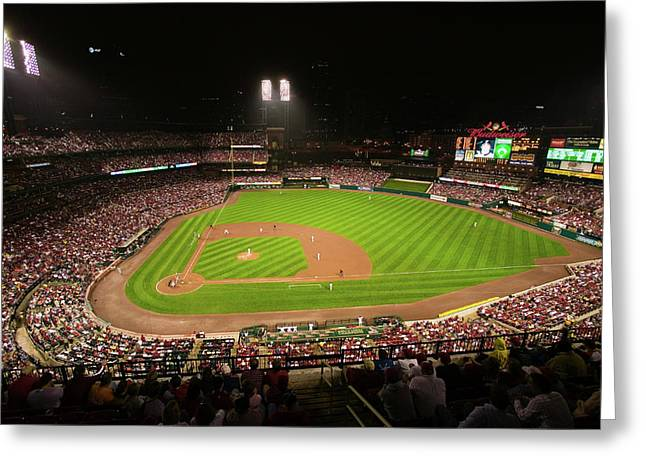 In A Night Game And A Light Rain Mist Greeting Card