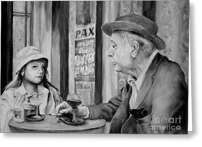 In A Parisian Cafe Greeting Card by Diane Kraudelt