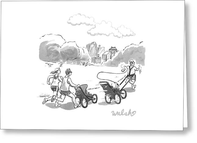 In A Park, Two Runners Jog With A Baby Stroller Greeting Card