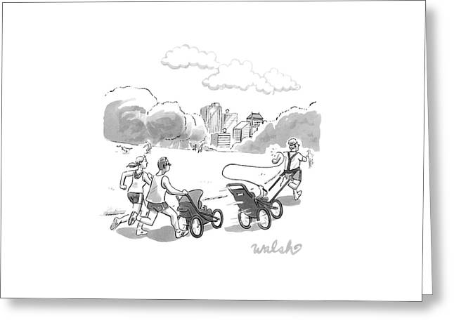 In A Park, Two Runners Jog With A Baby Stroller Greeting Card by Liam Walsh