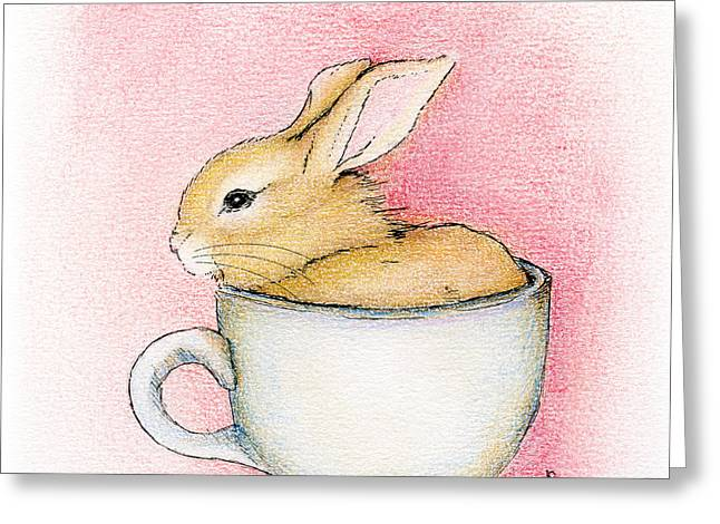 Greeting Card featuring the drawing In A Tea Cup by Penny Collins
