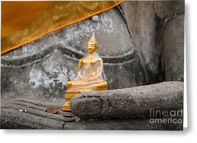 In Buddha's Hands I Greeting Card by Dean Harte