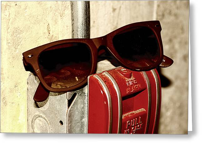 In Case Of Fire Grab Shades Greeting Card by Christi Kraft
