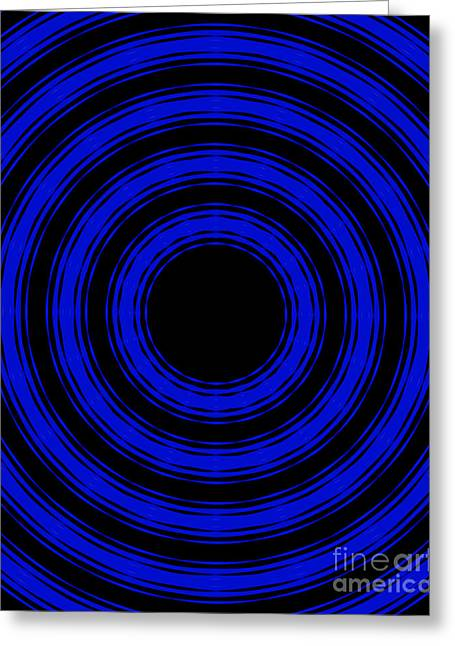 Greeting Card featuring the painting In Circles- Blue Version by Roz Abellera Art