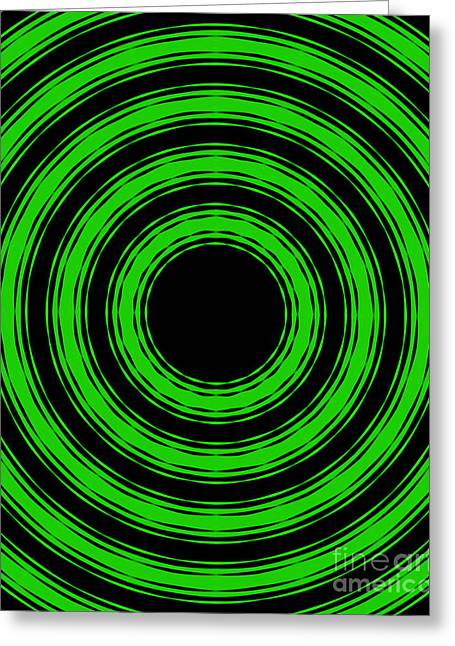 Greeting Card featuring the painting In Circles-green Version by Roz Abellera Art