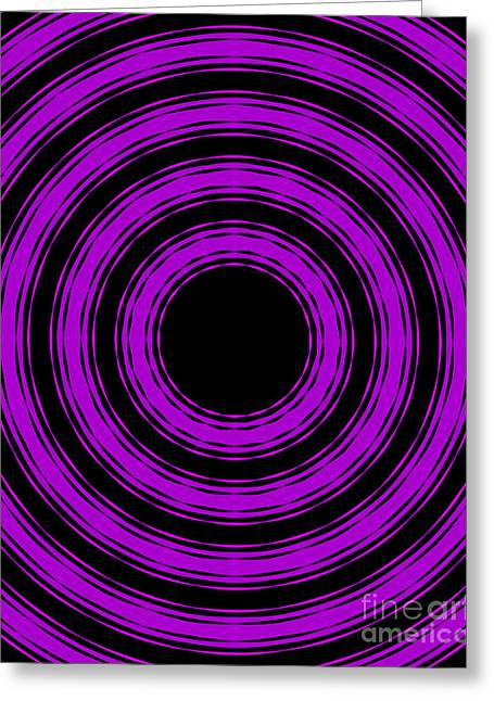 Greeting Card featuring the painting In Circles-purple Version by Roz Abellera Art