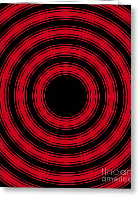 Greeting Card featuring the painting In Circles- Red Version by Roz Abellera Art