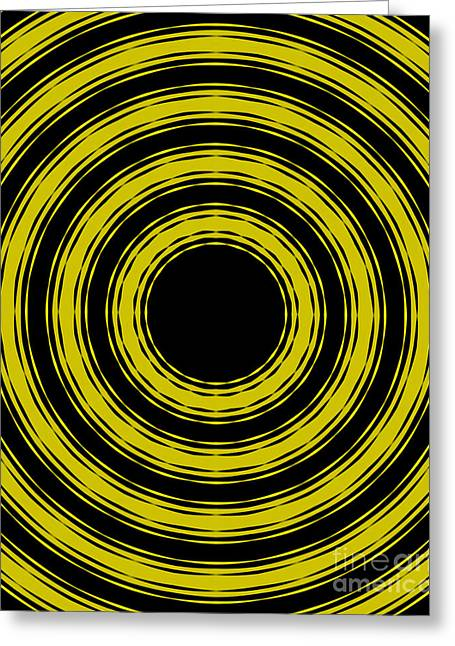 Greeting Card featuring the painting In Circles- Yellow Version by Roz Abellera Art