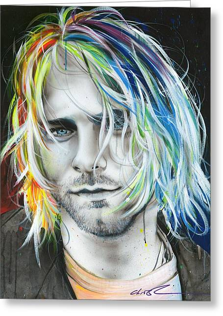 Kurt Cobain - ' In Debt For My Thirst ' Greeting Card by Christian Chapman Art