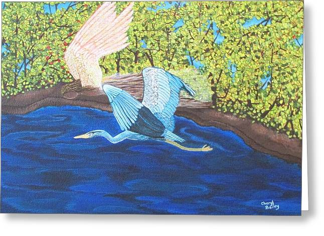 Greeting Card featuring the painting In Flight by Cheryl Bailey