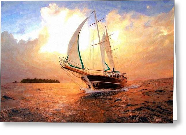 In Full Sail - Oil Painting Edition Greeting Card