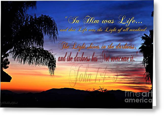In Him Was Life Greeting Card by Sharon Soberon