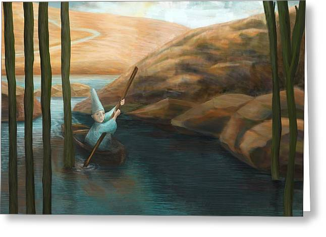 In His Boat Greeting Card by Catherine Swenson