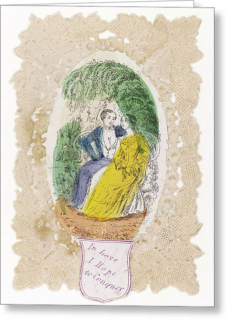 'in Love I Hope To Conquer' A Couple Greeting Card by Mary Evans Picture Library