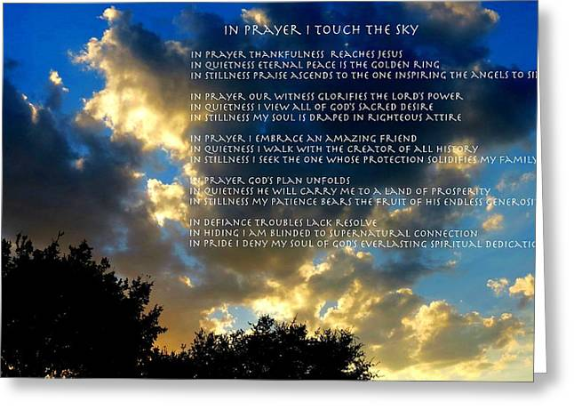 In Prayer I Touch The Sky Greeting Card