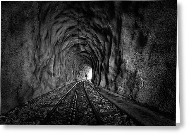 In The Bowels Of The Mountain-bw Greeting Card