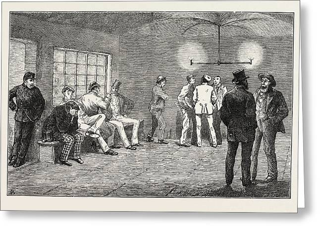 In The Cellars At Newgate Prisoners Waiting For The Court Greeting Card by English School