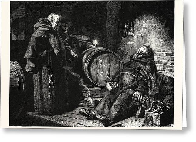 In The Cloister Cellar Greeting Card by Gr?tzner, Eduard Theodor Ritter Von (1846-1925), German