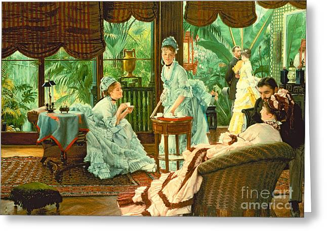 In The Conservatory  Greeting Card by James Jacques Tissot