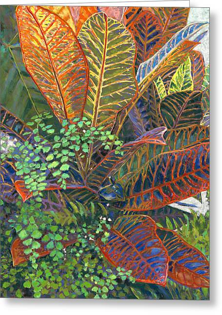 In The Conservatory - 2nd Center - Orange Greeting Card by Nick Payne