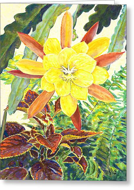 In The Conservatory - 3rd Center - Yellow Greeting Card by Nick Payne