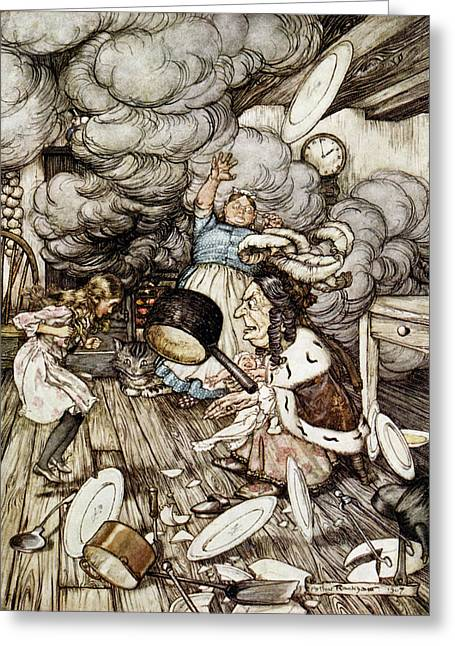 In The Duchesss Kitchen, Illustration To Alices Adventures In Wonderland By Lewis Carroll 1832-98 Greeting Card by Arthur Rackham