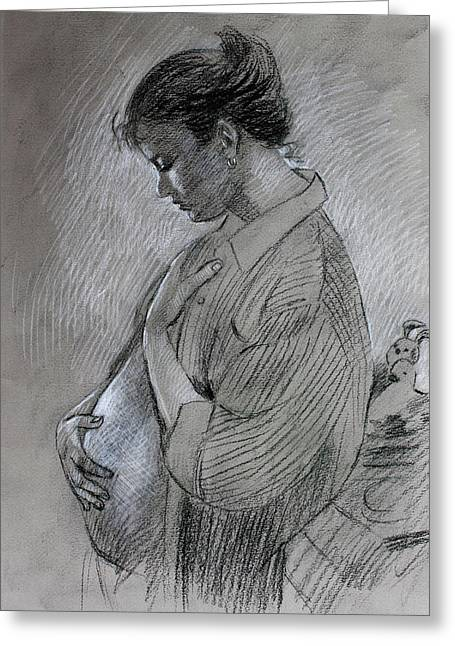 Greeting Card featuring the drawing In The Family Way by Viola El