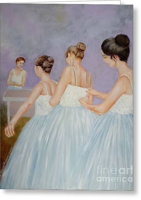 Greeting Card featuring the painting In The Fitting Room by Cynthia Parsons