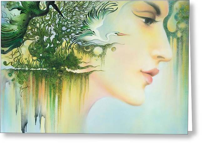Greeting Card featuring the painting In The Fluter Of Wings-in The Silence Of Thoughts by Anna Ewa Miarczynska
