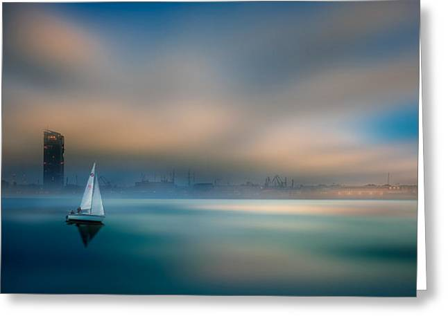 ...in The Fog Of The Bay Greeting Card