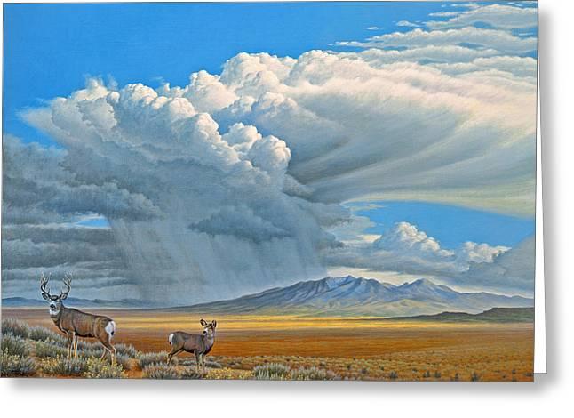In The Foothills-mule Deer Greeting Card by Paul Krapf